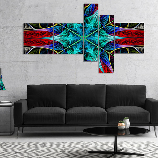 Designart Glowing Fractal Flower Layers MultipanelAbstract Canvas Art Print - 5 Panels