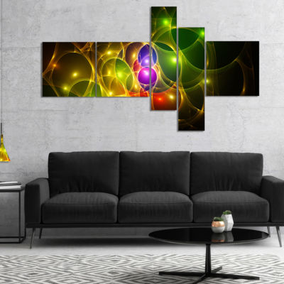 Designart Glowing Fractal Underwater World Multipanel Abstract Wall Art Canvas - 4 Panels