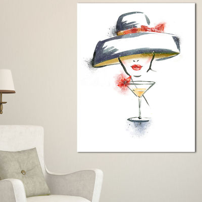 Designart Woman With Hat And Cocktail WatercolorPortrait Canvas Print