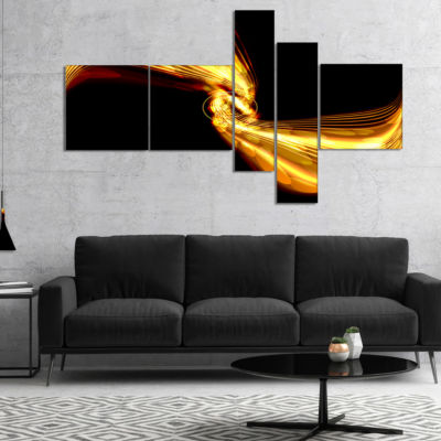 Designart Glowing Golden Lines And Circles Multipanel Large Abstract Art - 5 Panels