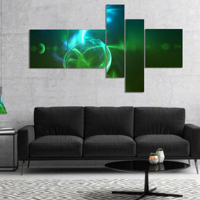 Designart Glowing Green Circles Multipanel Abstract Canvas Art Print - 4 Panels