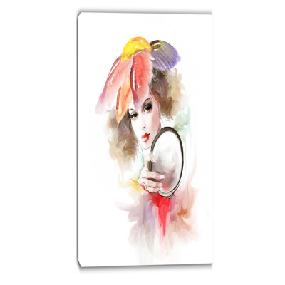 Designart Woman With Mirror Abstract Canvas Art Print