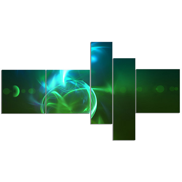 Designart Glowing Green Circles Multipanel Abstract Canvas Art Print - 5 Panels