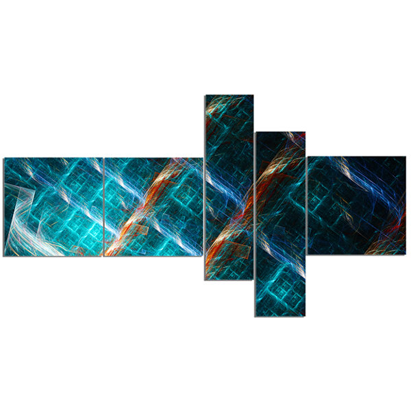 Designart Glowing Green Fractal Grill Multipanel Abstract Art On Canvas - 5 Panels