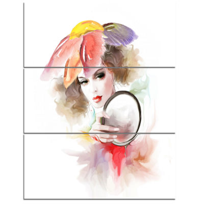 Designart Woman With Mirror Abstract Canvas Art Print - 3 Panels