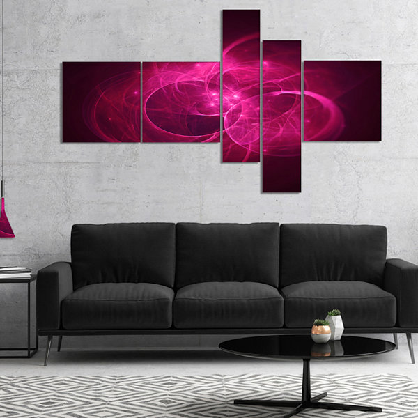 Designart Glowing Magenta Circles Multipanel Abstract Canvas Art Print - 5 Panels