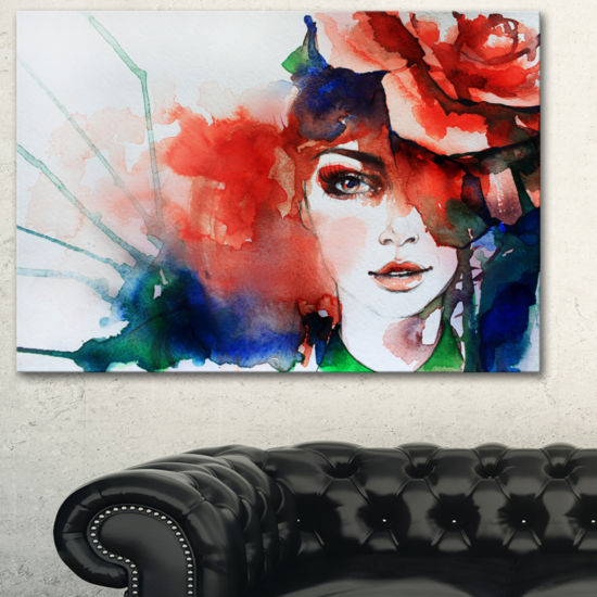 Designart Woman With Rose Illustration Abstract Canvas Artwork