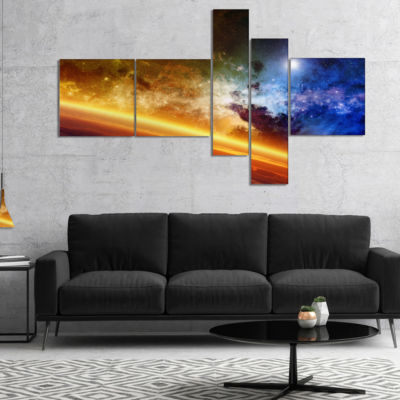 Designart Glowing Planet Multipanel Spacescape Canvas Art Print - 5 Panels