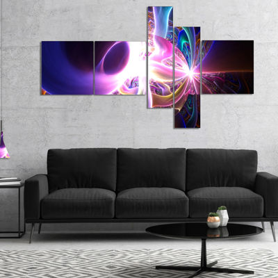 Designart Glowing Purple Design On Black Multipanel Abstract Wall Art Canvas - 5 Panels
