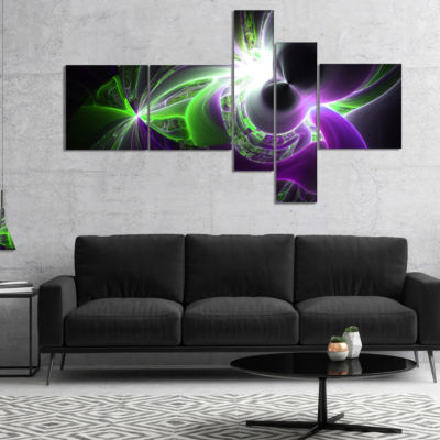 Designart Glowing Purple Green Plasma Multipanel Abstract Wall Art Canvas - 4 Panels