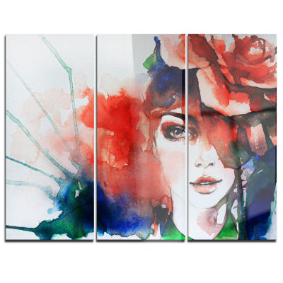 Designart Woman With Rose Illustration Abstract Canvas Artwork - 3 Panels