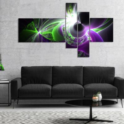 Designart Glowing Purple Green Plasma Multipanel Abstract Wall Art Canvas - 5 Panels