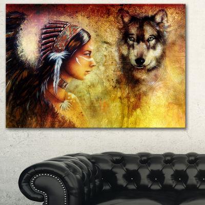Designart Woman With Wolf Portrait Canvas Art Print