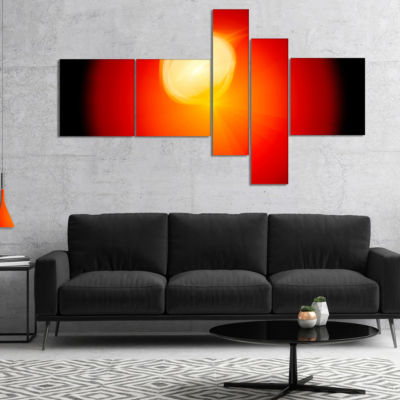 Designart Glowing Red Misty Sphere Multipanel Abstract Canvas Art Print - 5 Panels