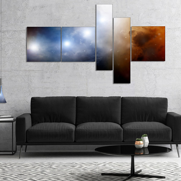 Designart Glowing Sky Multipanel Spacescape CanvasArt Print - 5 Panels