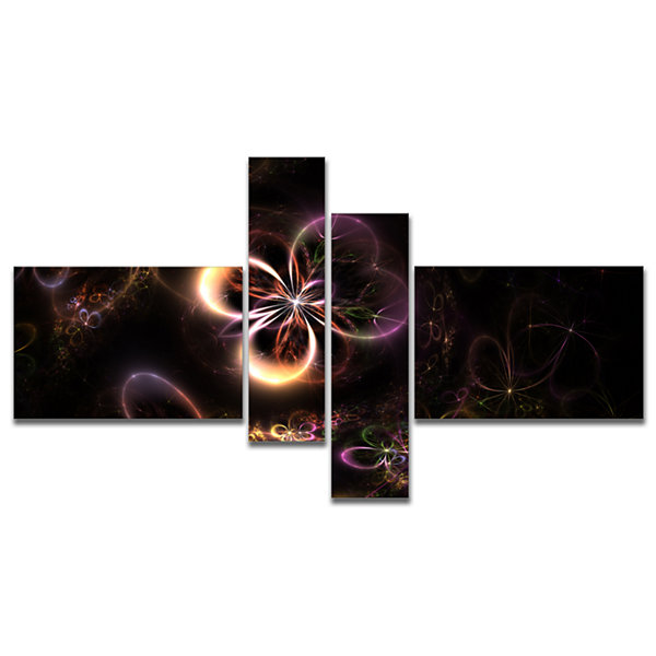 Designart Glowing Small Fractal Flowers MultipanelAbstract Wall Art Canvas - 4 Panels