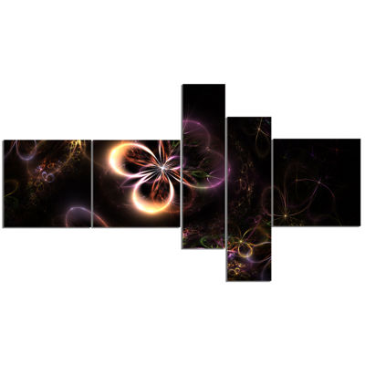 Designart Glowing Small Fractal Flowers MultipanelAbstract Wall Art Canvas - 5 Panels
