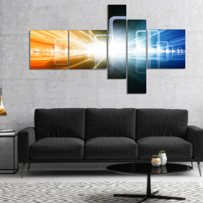 Designart Glowing Squares And Lines Multipanel Abstract Canvas Art Print - 4 Panels