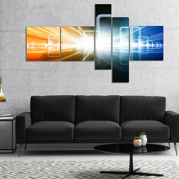 Designart Glowing Squares And Lines Multipanel Abstract Canvas Art Print - 5 Panels