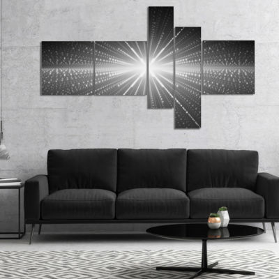 Designart Glowing Star In Cosmic Galaxy MultipanelAbstract Wall Art Canvas - 4 Panels