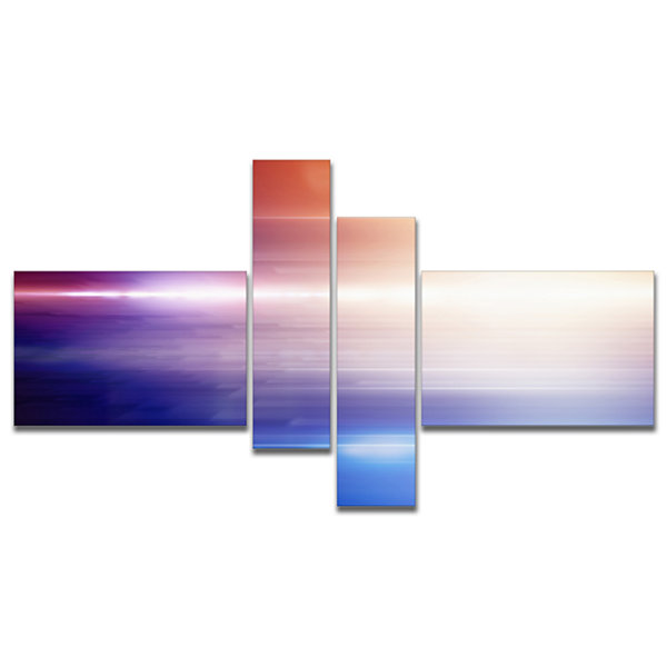 Designart Glowing Straight Lines Multipanel Abstract Canvas Art Print - 4 Panels