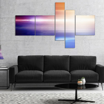 Designart Glowing Straight Lines Multipanel Abstract Canvas Art Print - 5 Panels