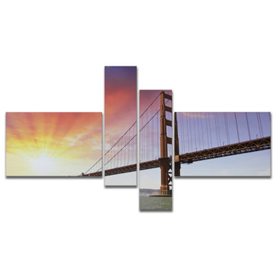 Designart Gold Gate Bridge And Sky Multipanel Landscape Photo Canvas Art Print - 4 Panels