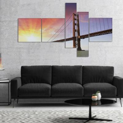 Designart Gold Gate Bridge And Sky Multipanel Landscape Photo Canvas Art Print - 5 Panels