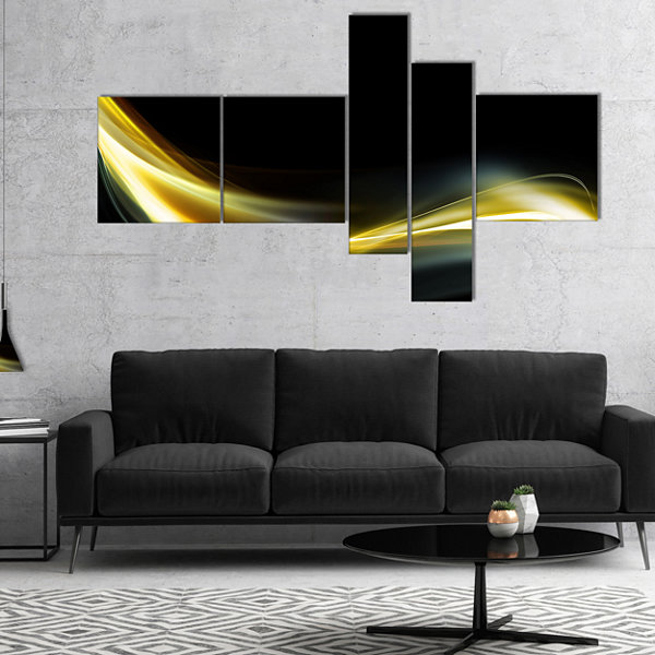 Designart Gold In Black Upward Lines Multipanel Abstract Canvas Art Print - 5 Panels