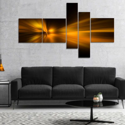 Designart Gold Light Over Dark Pattern MultipanelAbstract Canvas Art Print - 5 Panels
