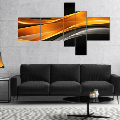 Designart Gold Pink Inward Waves Multipanel Abstract Canvas Art Print - 5 Panels