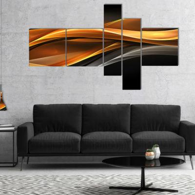 Designart Gold Silver Inward Lines Multipanel Abstract Canvas Art Print - 5 Panels
