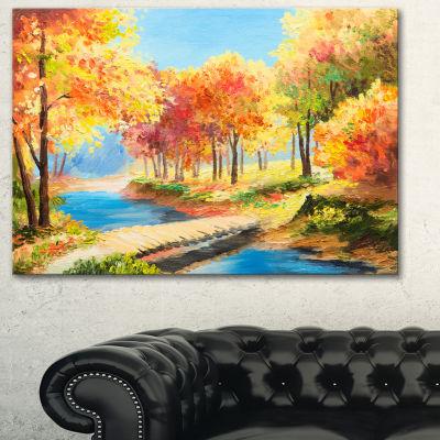 Designart Wooden Bridge In Colorful Forest Landscape Art Print Canvas - 3 Panels