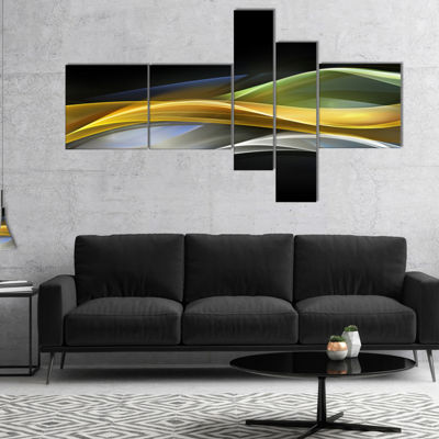 Designart Gold Silver Straight Yellow Lines Multipanel Large Abstract Art - 4 Panels