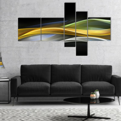 Designart Gold Silver Straight Yellow Lines Multipanel Large Abstract Art - 5 Panels