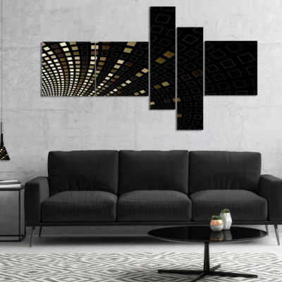 Designart Gold Square Pixel Mosaic On Black Multipanel Abstract Art On Canvas - 4 Panels