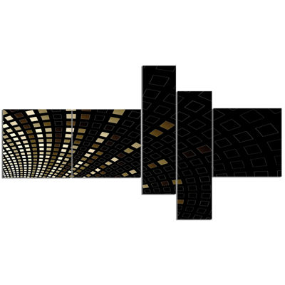 Designart Gold Square Pixel Mosaic On Black Multipanel Abstract Art On Canvas - 5 Panels