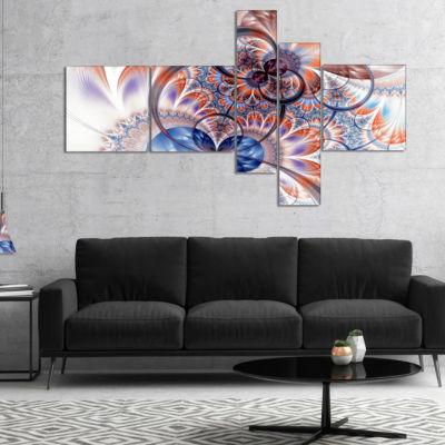 Designart Gold Symmetrical Fractal Flower Multipanel Abstract Canvas Art Print - 5 Panels