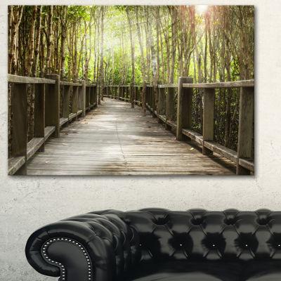 Designart Wooden Bridge In Forest Landscape Photography Canvas Art Print - 3 Panels