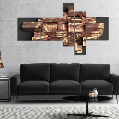 Designart Golden Black Abstract Design MultipanelAbstract Canvas Art Print - 5 Panels
