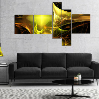 Designart Golden Bright Candle Multipanel AbstractCanvaS Art Print - 4 Panels