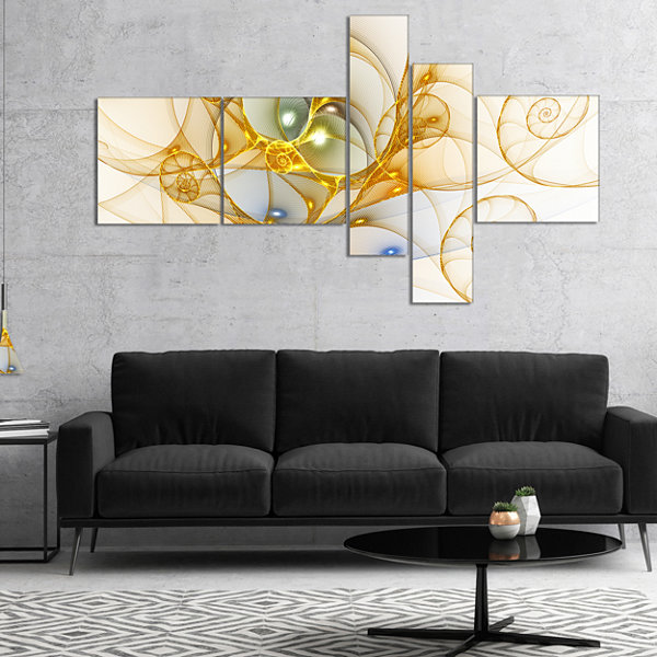 Designart Golden Colored Curly Spiral Multipanel Abstract Wall Art Canvas - 4 Panels