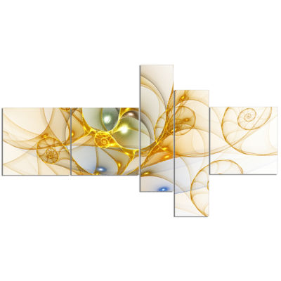 Designart Golden Colored Curly Spiral Multipanel Abstract Wall Art Canvas - 5 Panels