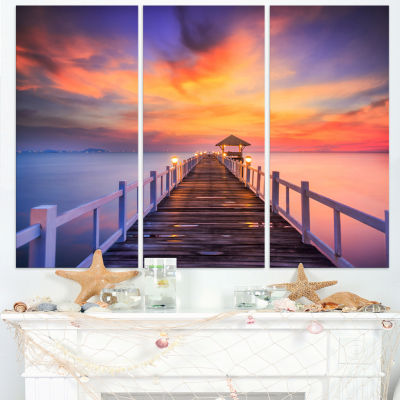 Designart Wooden Bridge Landscape Photography Canvas Art Print - 3 Panels