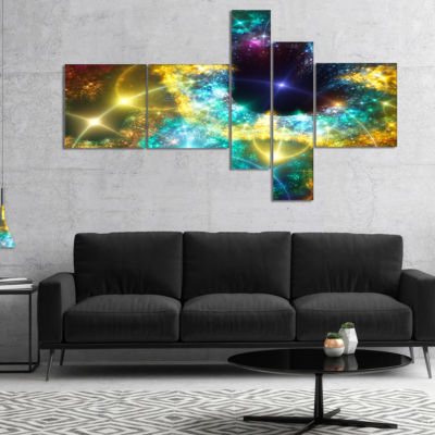Designart Golden Cosmic Black Hole Multipanel Abstract Art On Canvas - 5 Panels