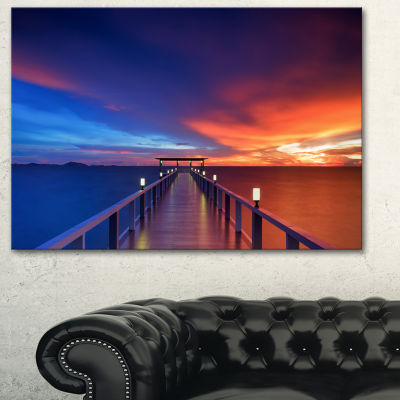 Designart Wooden Pier Seascape Photography CanvasArt Print