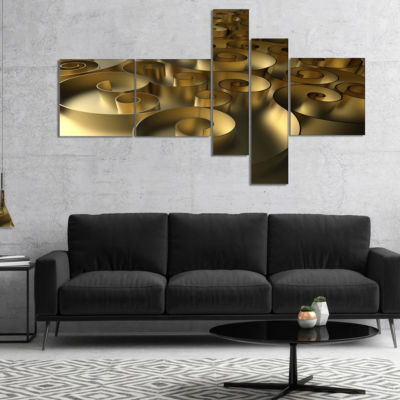 Designart Golden Curly Abstract 3D Design Multipanel Abstract Canvas Art Print - 4 Panels