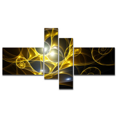Designart Golden Curly Spiral On Black MultipanelAbstract Wall Art Canvas - 4 Panels