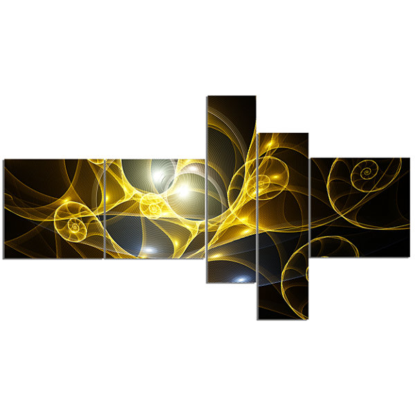 Designart Golden Curly Spiral On Black MultipanelAbstract Wall Art Canvas - 5 Panels
