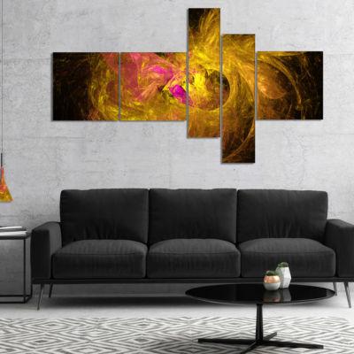 Designart Golden Fractal Abstract Illustration Multipanel Abstract Canvas Art Print - 4 Panels